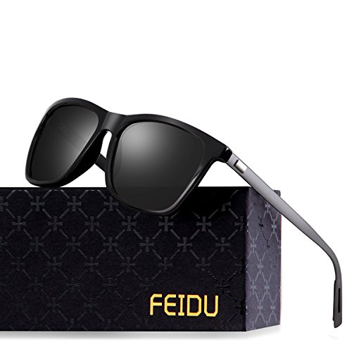 FEIDU Classic Polarized Wayfarer Sunglasses for Men Mirror Eyewear Unisex FD9003 (Black/Gun, - Fashion Wayfarer