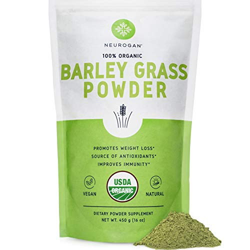 Neurogan Organic Barley Grass Powder (16 oz) - 100% USDA Organic, Rich in Fiber, Antioxidants, Enzymes, Protein & Chlorophyll - Best Vegan Superfood for Juice & Smoothie - Non-GMO, Non-Irradiated