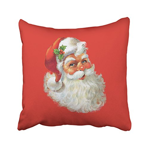 Shorping Zippered Pillow Covers Pillowcases 18X18 Inch vintage santa claus portrait Decorative Throw Pillow Cover,Pillow Cases Cushion Cover for Home Sofa Bedding Bed Car Seats Decor - Santa Claus Portrait