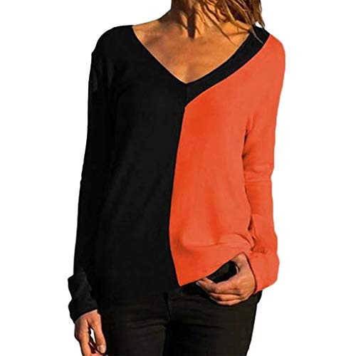 Womens 3/4 Bell Sleeve V Neck Lace Patchwork Blouse Casual Loose Shirt Tops Orange
