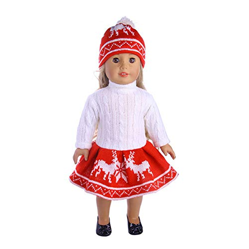 elegantstunning 3Pcs/Set Fashion Sweater + Skirt + Hat Outfit for 18inch American Girl Doll Xmas Gift for Children N1393 18 inch American Doll Clothes -