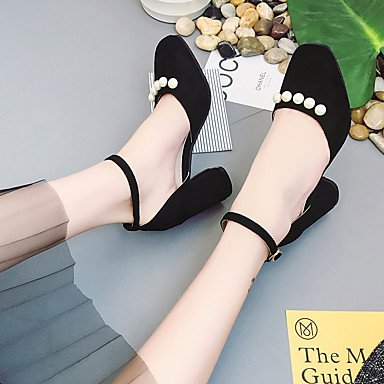 Novelty UK6 Casual Chunky Dress Spring Wedding Heel Buckle Fleece Women'sSandals US8 CN39 Summer Spandex Pearl EU39 Comfort Fabric HtKaAxq