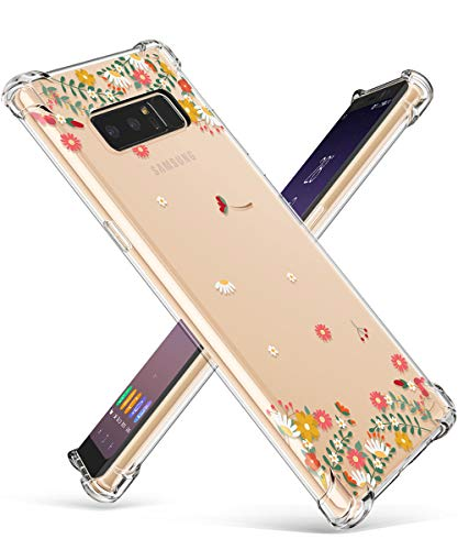 GVIEWIN Compatible for Samsung Galaxy Note 8 Case, Clear Flower Pattern Design Soft & Flexible TPU Ultra-Thin Shockproof Transparent Floral Cover, Cases Note 8 (Spring Flowers/Orange)