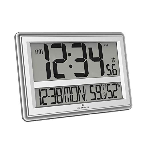 Price comparison product image Marathon CL030056SV Jumbo Atomic Wall Clock with Date,  Indoor Temperature and Humidity-Batteries Included. (Silver) (Renewed)