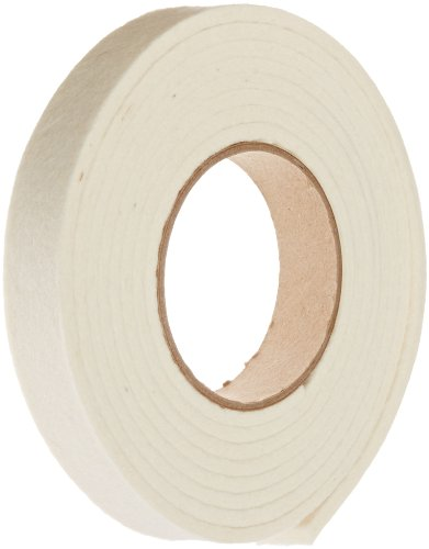 Grade F5 Pressed Wool Felt Strip, White, Meets SAE J314, 1/2'' Thickness, 2'' Width, 25' Length by Small Parts