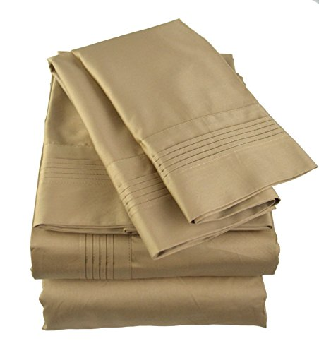 Empress Silk Pintucked Sheets Set - Queen - Camel