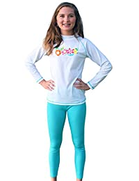 Sun Emporium 2-piece UV Sun Protective Long Sleeve Swim Shirt and Tights Swimwear Set for Girls- UPF/SPF Protection - sizes 4-14.