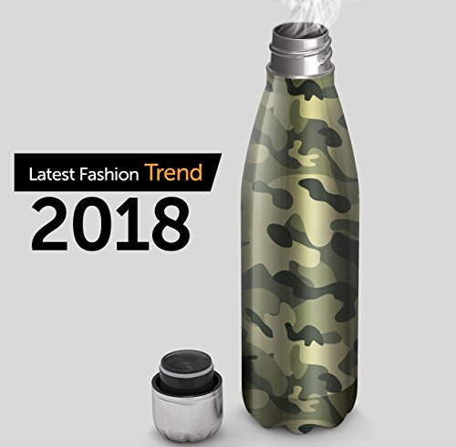 Camo Vacuum Insulated Travel Water Bottle | Leak-proof Revolutionary Triple Walled Stainless Steel Cola Shape Portable Water Bottle | No Sweating, Keeps Your Drink Hotter Or Colder | 17 Oz (500 ml)