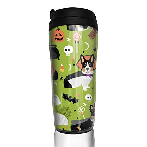 Tri-Colored Corgi Halloween Costumes Mummy Vampire Ghost Just Dog Light Green_25319 Coffee Mug 12 Oz Spill Proof Flip Lid Water Bottle Environmental Protection Material ABS