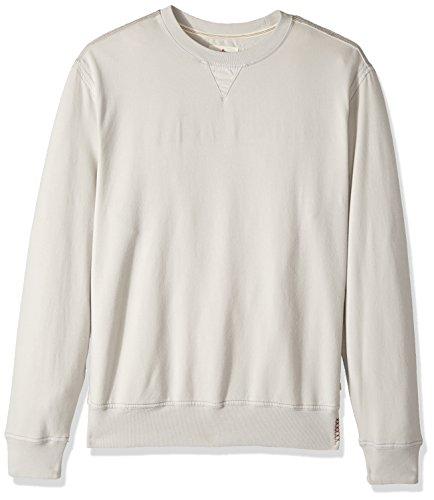 Washed Crewneck Sweater (True Grit Men's Cotton Washed Heather Fleece Pullovers with Stitch Details, Smoke Crew Neck Sweatshirt, M)