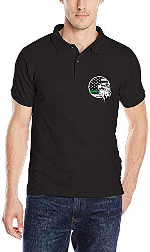 Not American Flag Eagle Thin Green Line Mens Classic Golf Shirts ...