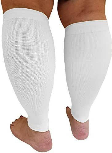 Compression Calf Sleeves Extra Wide - Soothing Gradient Support | Queen Plus Size Premium Hosiery XX-Wide Legs | Compression 18-20mmHg at Ankle and 14-16mmHg at Calves | Comfortable Tall Cuffs | white