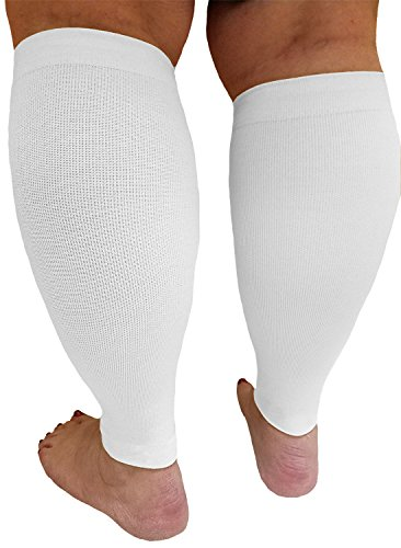 Compression Calf Sleeves Extra Wide - Soothing Gradient Support. XX-Wide Legs, Compression 18-20mmHg at Ankle and 14-16mmHg at Calves, Comfortable Tall Cuffs. Maximum stretch to 27 in. Unisex, white by Boston Enterprises (Image #7)