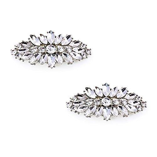 ElegantPark AL zapatos de boda Accesorios Cristales Strass Diamond Desmontable Blush zapato Clips 2 Pcs Leaf Plateado