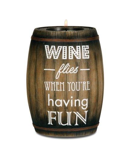 Pavilion Gift Company 22024 Wine Barrel Candle Holder, Having Fun, 5-Inch