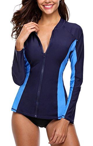 - Anwell Ladies Long Sleeve Surfing Sporty Shirt Uv Swim Tops Navy X-Large