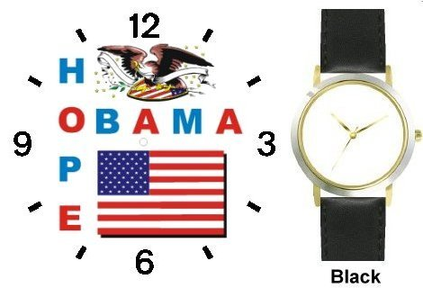Obama - Hope - US Flag and Bald Eagle Seal - President Barack Obama Commemorative - WATCHBUDDY DELUXE TWO-TONE THEME WATCH - Arabic Numbers - Black Leather Strap-Size-Women's Size-Small