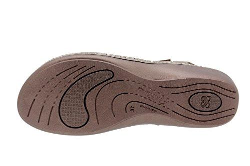 Confort Chaussure Amovible Semelle Sandales Taupe Amples 1801 Confortables À En Femme Cuir Piesanto F4qpOp