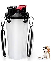 RIZON Tragbare Hunde Wasserflasche und Futterflasche 2-in-1 mit Faltbar Haustier Reisenapf (2er Set), Hunde Katzen Trinkflasche Wasserspender für Unterwegs, Wandern, Draussen, BPA Frei