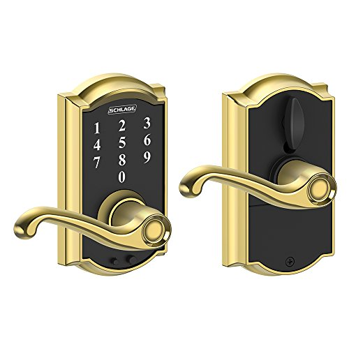 - Schlage Touch Camelot Lock with Flair Lever (Bright Brass) FE695 CAM 605 FLA