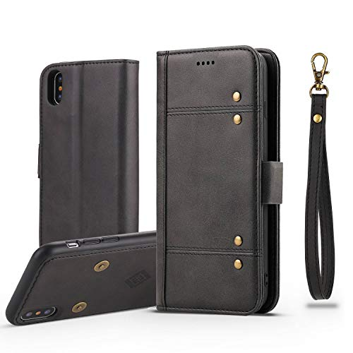 iPhone 7 plus 8plus black Case PU Leather Magnetic Adsorption Card Supports mobile phone tilt and screen back cover protection