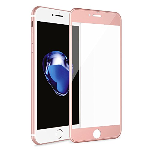 iPhone 7 Plus 3D Full Coverage Tempered Glass, [PET Frame] [Edge to Edge Crash Protection] Curved [Scratch Proof] [Bubble Free] Tempered Glass Screen Protector Film for iPhone 7 Plus - Rose Gold