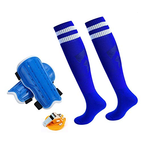 cGy Youth Soccer Shin Guards,Knee Soccer Socks A Stainless Steel Whistle,Perforated Breathable & Protective Gear 4-12 Years Old Boys,Girls,Teenagers,Kids