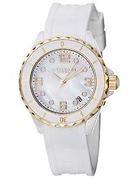 Stuhrling Original Women's 9954.12E3W7 Leisure Ceramic Seraph Quartz Date White Mother-of-Pearl Rubber Strap Watch