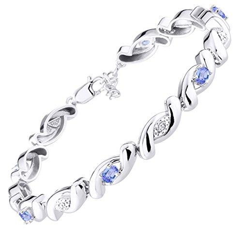 Stunning Tanzanite & Diamond Tennis Bracelet Set in Sterling Silver - Adjustable to fit 7