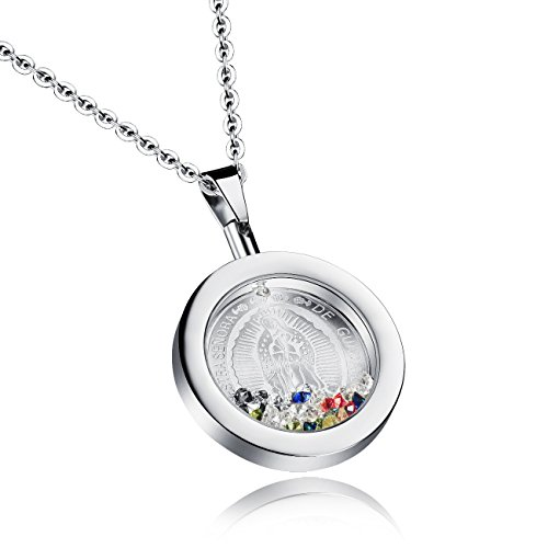 Catholic Necklace - Fate Love Stainless Steel Virgin Mary Catholic Medal Pendant Religious Charm Necklace for Women
