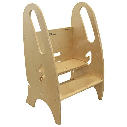 Little Partners The Growing Step Stool Adjustable Height Nursery, Kitchen or Bathroom Footstool - Wooden Non-Tip Design for Both Toddlers & Adults (Supports Up to 150lbs) (Natural)