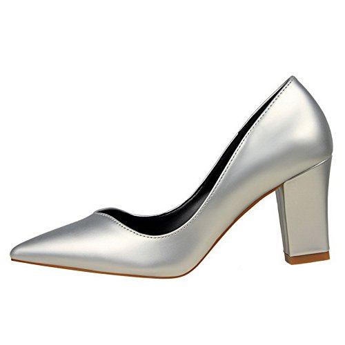 Damen Lackleder Rein Ziehen auf Hoher Absatz Pumps Schuhe, Silber, 37 AalarDom