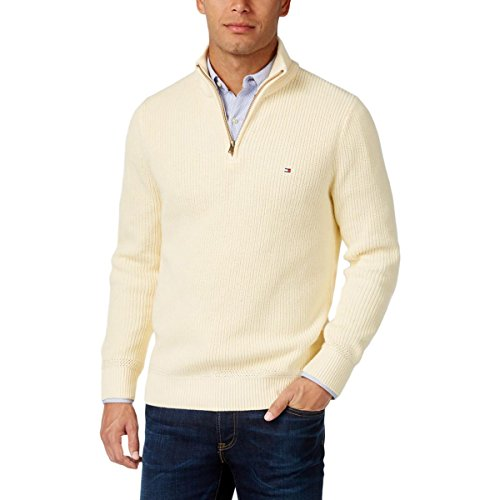 Tommy Hilfiger Mens Harrington Ribbed Trim 1/4 Zip Sweater