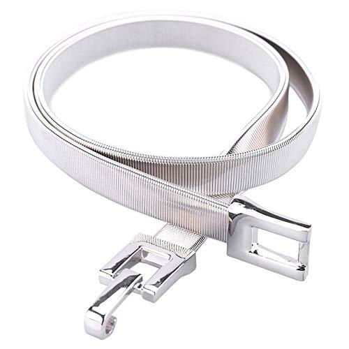 - Tanpie Skinny Waist Belt of Women Elastic Metal Stretch Chain Belt Silver 29''