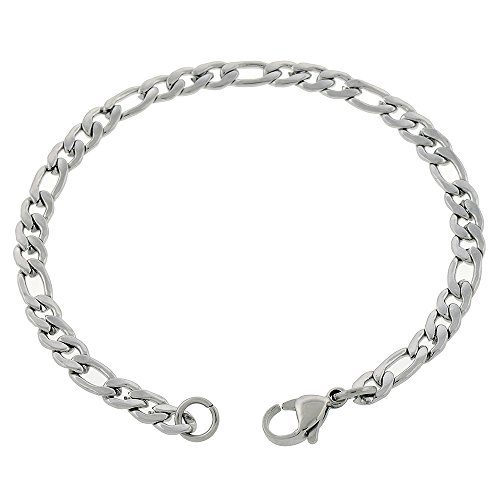 Women's 4.8mm Figaro Stainless Steel Anklet, Choose from 7-14 inches (11 Inches)