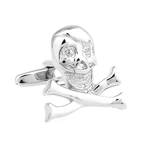 Silver Happy Jack Skull and Cross Bones Cufflinks Cuff Links