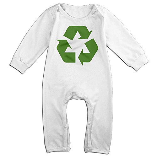 Ketchup Costume Australia (Boy & Girl Infants Green Recycling Long Sleeve Romper Jumpsuit 6 M White)