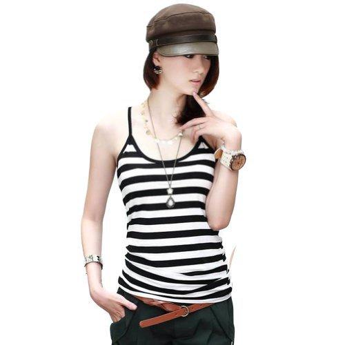 Lafon Women Black White Bold Thin Striped Tank