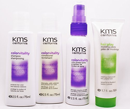 (Kms Colorvitality Shampoo 2.5 fl Conditioner 2.5 fl Colorprotect Spray 2.5 fl And Hair Play Molding Paste 1.7 fl Travel Set)