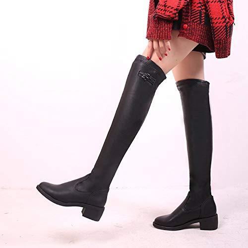 HOESCZS Stiefel Damen Woherren Winter Lange Rohr Hochhackige Schuhe Dicke Warme Dicke Mit Overknee Stiefel Skinny Legs Mit Knie Stiefel Mode