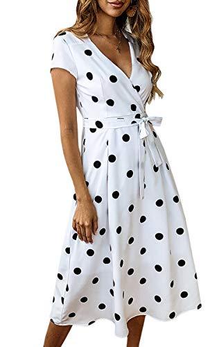 ECOWISH Women's Summer V Neck Polka Dot Short Sleeve Vintage Wrap Dress with Belt White M