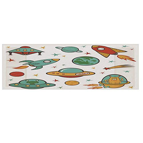 Kids Room Dustproof Electric Oven Cover,Outer Space Theme Rocket Space Ship UFO Stars Planets Alien Earth Saturn Galaxy Print Cover for Kitchen,36