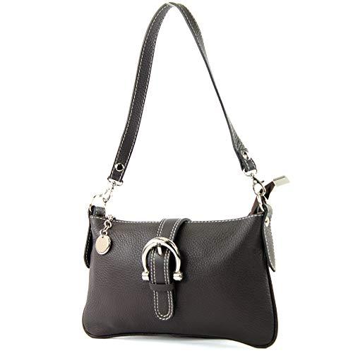 modamoda de - ital Ciudad- / bolso de hombro de cuero T05 pequeña, Color:chocolate oscuro