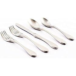 Knork 18/10 Stainless Steel 20 Piece Flatware Set, Matte Silver