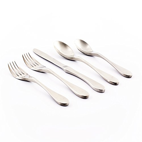 Knork 18/10 Stainless Steel 20 Piece Flatware Set, Matte Silver