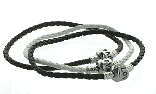 3-Pack Neutral Classics Braided Faux Leather Bracelets with Love Snap Box Barrel Clasp 10kt Baby Box