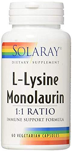 Solaray L-Lysine Monolaurin 1:1 Ratio, 60 Capsules (2 Pack)