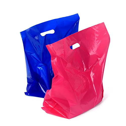 100 Retail Merchandise Plastic Bags [ 16x18 ] by Camtoms: Large Tear Resistant Glossy Shopping Bags With Handles For Clothes Shoes Laptops | Shop Store Boutique | (50 Pink – 50 Blue)