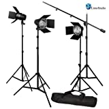 LimoStudio Photography Photo Studio Continuous Light Lighting Barn Door Light Kit with Overhead Boom Hair Light Kit, AGG1749