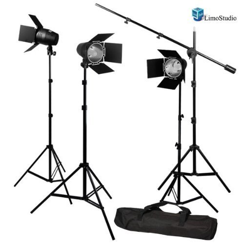 LimoStudio Photography Photo Studio Continuous Light Lighting Barn Door Light Kit with Overhead Boom Hair Light Kit, AGG1749 by LimoStudio
